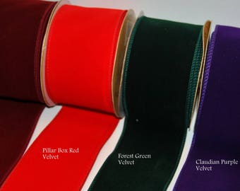 "2.5"" Wired Edge Velvet Ribbon Purple, Green, Red, Burgundy Christmas, Trees, Wreaths, Gifts, Cakes, Crafts"