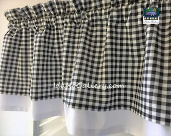 Gingham Check Black and White Country Curtain Modern Double Layered Kitchen Curtain Short Valance Checkered Farmhouse Curtain