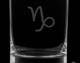 Capricorn 13 Ounce Personalized Rocks Glass
