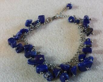 Dark Blue Lapis Lazuli Chip Bracelet