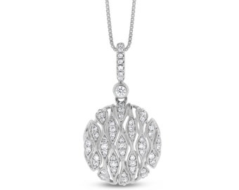 0.25 Ct. Natural Diamond Round Medallion Wave 3D Pendant in Solid 14k White Gold
