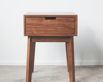 Ventura Nightstand / Bedside Table - Solid Walnut - Tapered Leg - Available in other woods