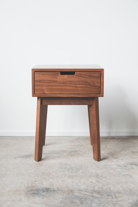 Ventura Nightstand / Bedside Table Solid Walnut Tapered