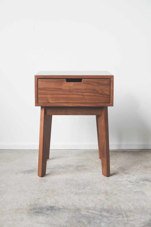 Ventura nightstand bedside table solid walnut tapered zoom watchthetrailerfo