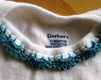 Crochet Edge Onesie - Teal