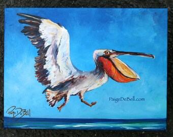 Big Mouth Pelican  Original painting by New Orleans artist Paige DeBell.