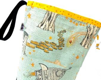 Small Knitting Project Bag Crochet Drawstring Tote WIP Bag - Enchanted Universe