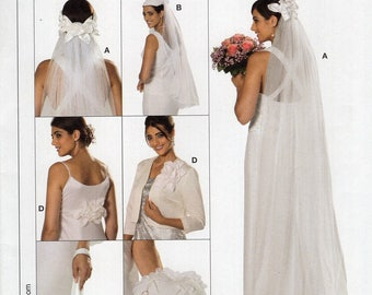 FREE US SHIP Burda 7673 Bridal Wedding Gown Veil Headpiece Ring Pillow Bag Hat Hair corsage Uncut New Sewing Pattern