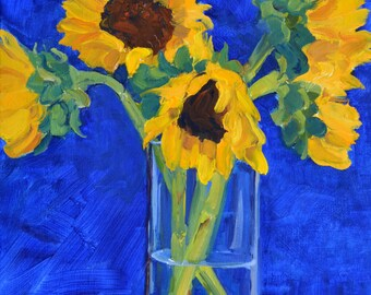 Flowers, still life, oil painting, flowers painting, impressionism, floral art, small art, sun flowers