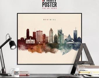 Montreal art print, Montreal poster, Montreal wall art, Montreal skyline watercolour print, travel poster, home decor, gift, iPrintPoster