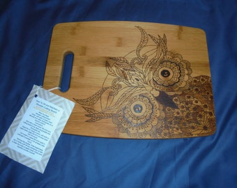 Hand Wood Burning on Bamboo Cutting Board