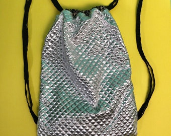 Silver Quilted Metallic / Leopard Print Drawstring Festival Rave Bag