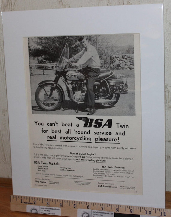 "1959 BSA ""Real Motorcycling Pleasure"" 11"" x 14"" Matted Vintage Motorcycle Ad Art #5909amot01m"