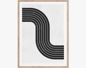 Mid Century Modern Art Print, Printable Wall Art, Abstract Wall Art, Retro Art Print, Geometric, Simple art print, Black and White Block Art