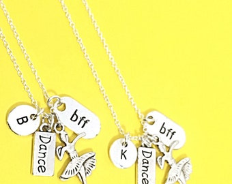 Two Personalized BFF Necklace Dance Gift Set of Two Friendship Necklaces Gift For Best Friend Matching Friend Necklaces