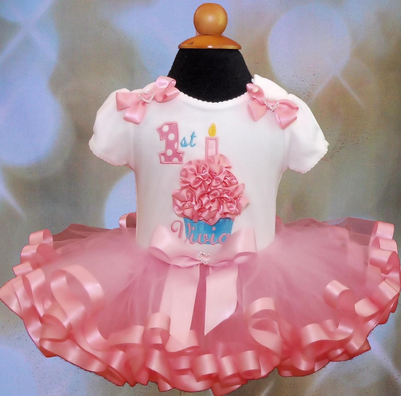 3D Cupcake 1st Birthday Girl Outfit Tutu Dress Baby Girls Clothing Ribbon Trim