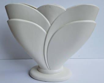 Large Haeger Fan Vase in White