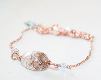 Unique Rutilated Quartz and Aquamarine Necklace, 14K Rose Gold Filled, Brown Rutilated Quartz Nugget, Gemstone Necklace, Gift For Wife