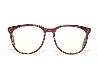 See You by Metzler Eyeglasses 80's Marble Tropical Red Burgundy Mother of Pearl Medium Sized Eyeglasses New Condition FREE SHIPPING