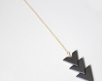 Chevron Hematite Necklace - 14k Gold Filled