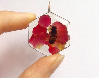 Real Honey Bee and flower pendant- resin copper hexagon rose petal flower nature inspired gifts