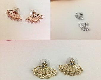 Double side cz gold plated, rose gold or silver plated stud earrings