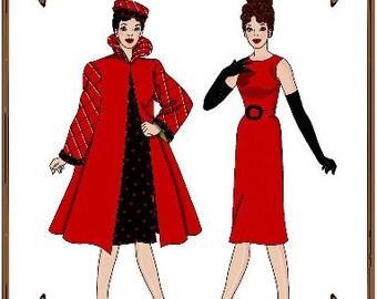 Email PDF - Silkstone Barbie Doll Clothes Pattern - Dress, Coat, Hat, Gloves - No.  PDF-125-SB