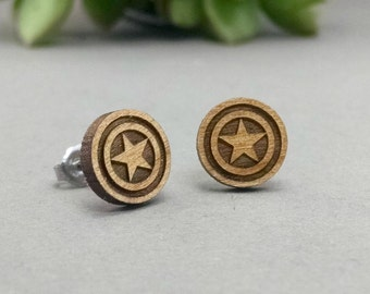 Captain America Shield Post Earrings - Laser Engraved Wood Earrings - Hypoallergenic Titanium Post Earring Pair
