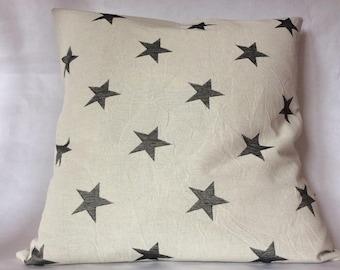 Pillow cover cotton organic 'Star' grey / black