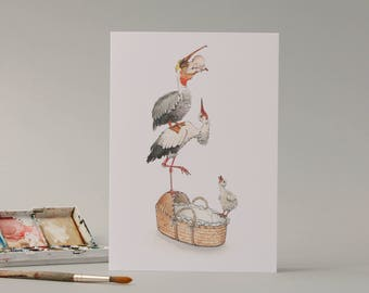 New baby delivery trainee; stork and a pelican hand drawn card //funny new born card // illustration // drawing // unusual // cute