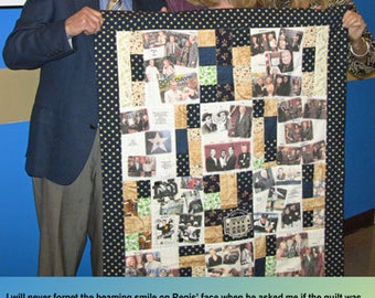 """Photo Quilt with People & Places Labeled 10 Fabric Photo Collages. 36""""x48"""" Perfect Lap and Display Size to View All Photos. Washable"""