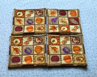 fall harvest hand quilted set of mug rugs coasters