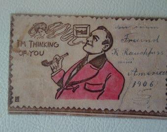 Leather Postcard-1906-run-from Brooklyn NYC to Zwickau-Saxony-Germany