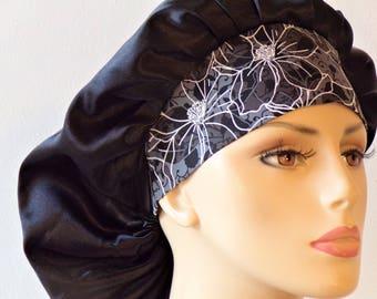 Scrub Hats Satin Bouffant/Black Satin Scrub Cap/Women Scrub Hats-Scrub Caps/Sleeping Bonnet/Satin with a Black and Gray band/Beauty Bonnet