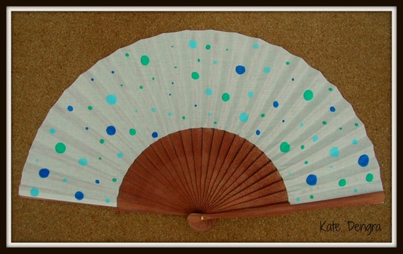 Spotty Dotty Blue Wooden Hand Fan Red Made to Order Standard 24cm