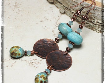 Robin's Egg... Handmade Jewelry Earrings Beaded Lampwork Crystal Rustic Boho Hippie Gypsy Sky Blue Turquoise Raku Antique Copper Dangle Long