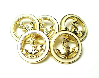 Anchor metal buttons 5 pcs