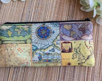 World Map Zipper Pouch,Atlas,Map pencil pouch,Kids pencil case,passport pouch,Cosmetic case,Make Up bag,Teacher gift,Teens,gadget case