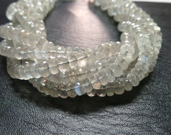 """Extremely Amazing Natural Siloni Moonstone 14"""" Strand Extremely Finest High Quality 6 MM Size Faceted Beads"""