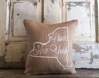 Burlap pillow - I Love New York pillow| Mothers Day gift | Wedding Gift | State pillow | New York pillow