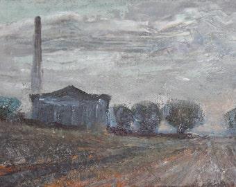 Vintage oil painting expressionist landscape