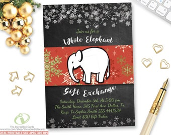 WHITE ELEPHANT Gift Exchange Invitations Christmas Party, White Elephant Christmas Invitation, White Elephant Party, Chalkboard