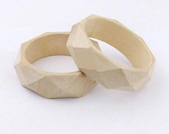 medium natural wood bracelet, geometric larg.26mm patterns