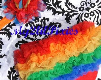 Rainbow Ruffle Bum Baby Bloomer and Headband- baby girl bloomer, baby bow , borthday outfit, ruffle bloomer, newborn bloomer, diaper cover
