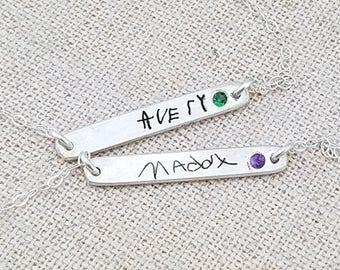 Mother Gift - Birthstone Jewelry - Custom Handwriting Jewelry - Personalized Bracelet - Mom Jewelry - Birthstone Bar Bracelet - Mother's Day