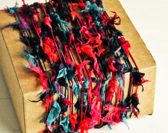Flag Twine in Black, Pink & Teal - 6 Yards - Rustic Pompom Butterfly Garland Packaging Gift Wrapping Ribbon Trim Party Decor
