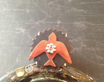Large Bird and Gear Steampunk Adjustable Ring