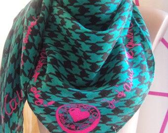 Vintage CODELLO Pepita Made with Love Scarf,Green ,pepita pattern,Pink inscription,Big Square