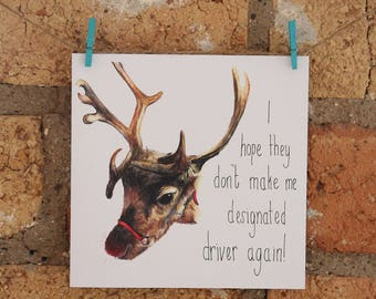 Illustrated Rudolph Reindeer Christmas Card