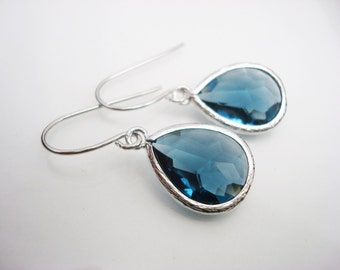 Sapphire Earrings, Blue Earrings, Teardrop Earrings, Drop Earrings, Something Blue, Bridal Earrings, Bridesmaid Earrings, Silver Earrings